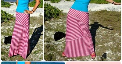 """Modern striped maxi skirt pattern with stripes on the diagonal, horizontal and vertical. In sizes 34-56"""" hips and instructions to show you how to make it."""
