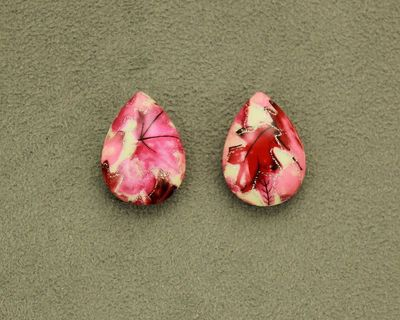 Magnetic 18 x 25 mm Red, Pink , and Silver Teardrop Cabochon Plastic Button Earring $30.00 Designed by LauraWilson.com