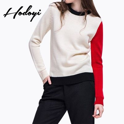 Vogue Simple Split Front Solid Color Slimming Scoop Neck Fall 9/10 Sleeves Sweater - Bonny YZOZO Boutique Store