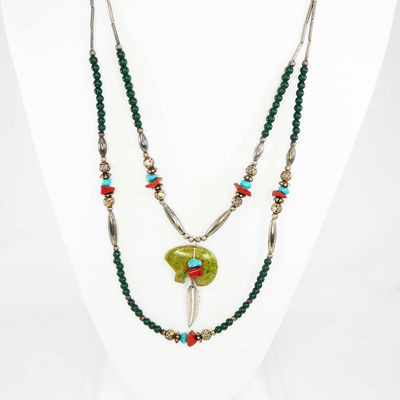 Sterling Silver Native American Indian Necklace, Double Strand Beads with Bear Fetish, Coral, Green and Turquoise Beads, & Silver Tube Beads $98.00