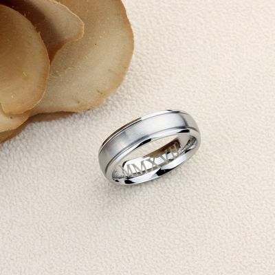 Stainless Steel Wedding Band Men Women, 6mm Matte Center Domed Classy, Stainless steel Promise Ring Men Women, Stainless Steel Band Ring $38.00