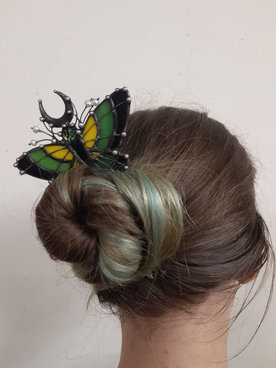 Butterfly hair clip, stain glass hair accessories. $72.00