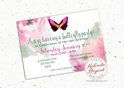 Butterfly Birthday Party Invitations Printable 5x7 Garden Tea Party Spring Baby or Bridal Shower Little Girls First Birthday Summer Flowers $10.65