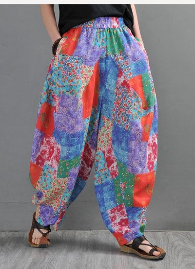 Harem pants, Abstract print loose bohemian bloomers, ramie big crotch pants, Drop crotch Pants, Elephant pants, Kappa pants, Lerp pants