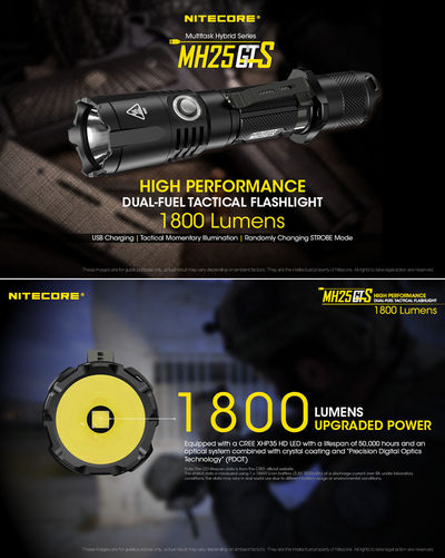 NITECORE MH25GTS XHP35 HD 1800LM 8Modes USB Rechargeable LED Flashlight 3500mAh 18650 Battery