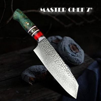 Master Chef Knife Laminated Damascus Japanese Style Blade Hammered Finish Leather Sheath $218.90