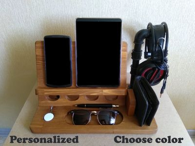 IPhone + iPad + iWatch + headphone stand, iPhone X and 8 / 8 plus wood and pipe dock, wooden station, apple watch charger, iron cast pipe $93.00