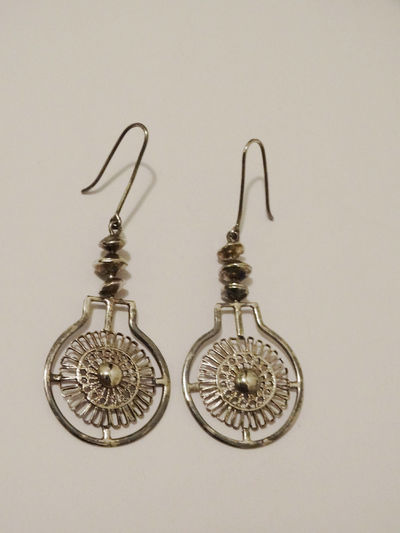 1980's Sterling Silver Handmade Dangling Earrings. $32.00