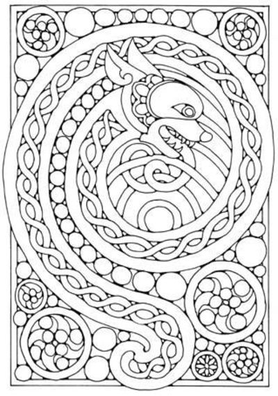 Awesome celtic dragon coloring page