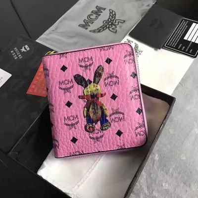 MCM Rabbit Visetos Zip Short Wallet In Pink