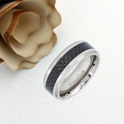 Inside Custom Engraving Personalized Titanium Wedding Band Promise Ring 8mm High Polish Black Carbon Fiber Inlay Ring - ZDPTI471 $42.50