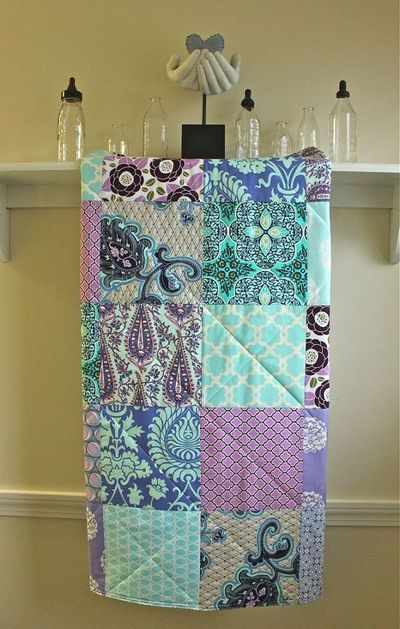 CRYSTAL- sooo pretty! Modern Baby Quilt Patchwork Lavender and Aqua by FernLeslieBaby, $98.00