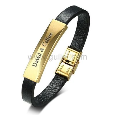 Personalized Love Leather Bracelet for Men Stainless Steel Gold https://www.gullei.com/personalized-love-leather-bracelet-for-men-stainless-steel-gold.html