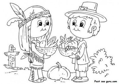 Free Printable Thanksgiving native and pilgrim coloring page