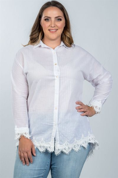 20% discount with BESTDEAL at checkout! Ladies fashion plus size boho stripe crochet-hem button-up shirt $21.00