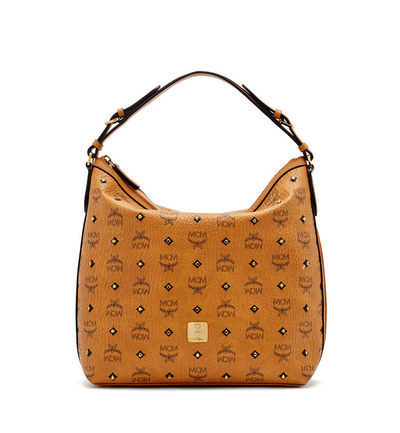MCM Small Gold Visetos Hobo Bag In Brown