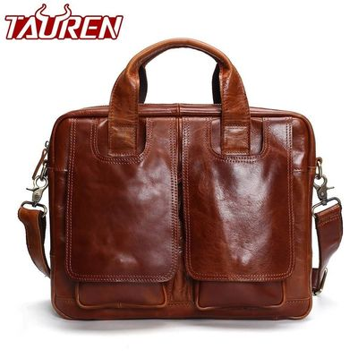 Tauren Genuine Leather Bag Men Messenger Bags Handbag Briescase Business Men Shoulder Bag High Quality 2018 Crossbody Bag Men $115.80