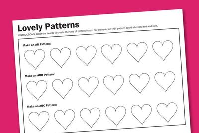 Heart Patterns Free Printable Worksheet (PagingSupermom.com)