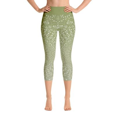 Mandala Green Yoga Capri Leggings $46.00