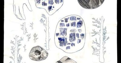 Carter - prosopopoeia / stasis / landscape - 2005 blue acrylic ink, hand marbled paper, pencil and paper on paper 103 x 87 cm