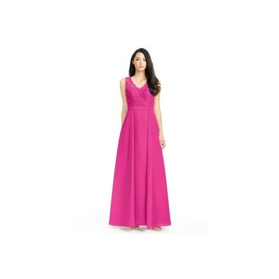 Fuchsia Azazie Britney - V Neck Chiffon And Lace Floor Length Keyhole Dress - Cheap Gorgeous Bridesmaids Store