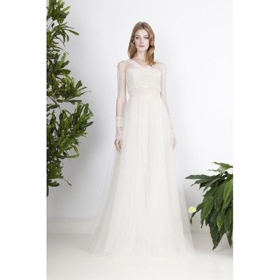 Divine Atelier 2017 Pearl Ivory Sweet Sweep Train Aline Long Sleeves V-Neck Tulle Appliques Dress For Bride - Rich Your Wedding Day