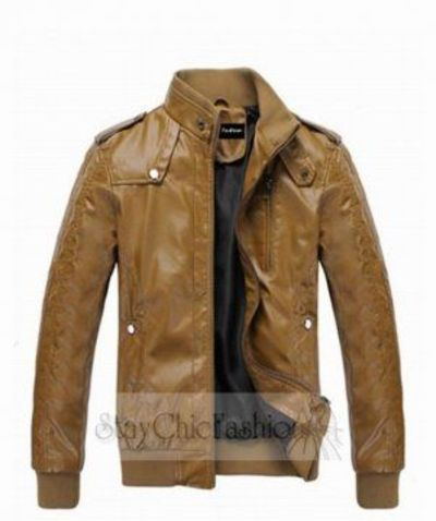 Brown PU Leather Motorcycle Leather Jacket for Men