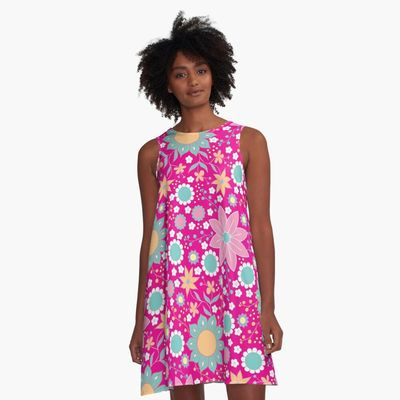 Pretty Flower Power / 60s 70s Spring Summer Floral A-Line Dress Designed and sold byImageMonkey  #floraldress #summerdresses #hippiedresses #bohodresses #bohemiandresses #pinkdresses #flowerpower #flowerdresses