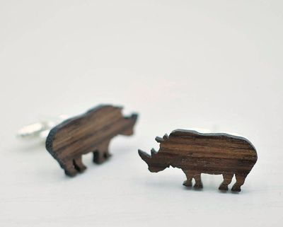RHINO Cufflinks - Men's Gifts - Handmade Wooden Cuff Links - Wood Cufflinks for Him - Wood Cufflink Set - Handmade Cufflinks
