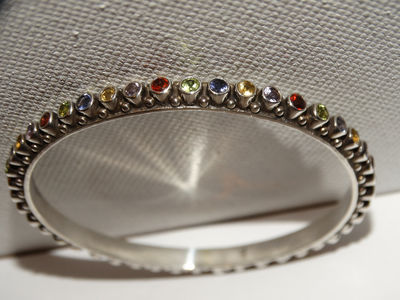 Sterling Silver Genuine Multicolor Gemstones Bangle Bracelet. $152.75