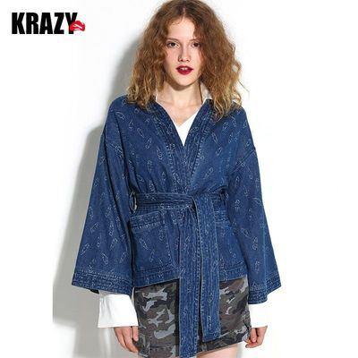 Printed Curvy Flare Sleeves Draping Lace Up Cotton Cowboy Cardigan Coat - Bonny YZOZO Boutique Store