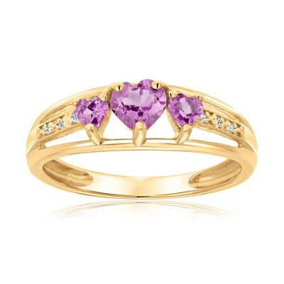 Created Pink Sapphire Heart Gold Plated Diamond Accent Birthstone Ring $83.94