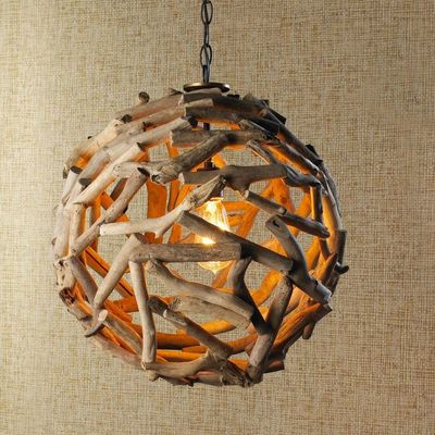 Driftwood Ball Pendant Light Reclaimed driftwood in an open weave pattern provides a casual chic look from the coastal retreat to the modern loft! Used singly or in multiples, the weathered natural tones lend that organic flavor!
