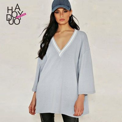 Oversized Vogue Solid Color V-neck 9/10 Sleeves Fall Casual T-shirt - Bonny YZOZO Boutique Store