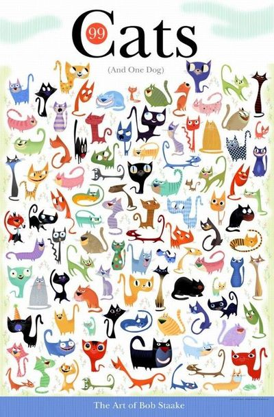 99 cats and one dog - super cute illustrations