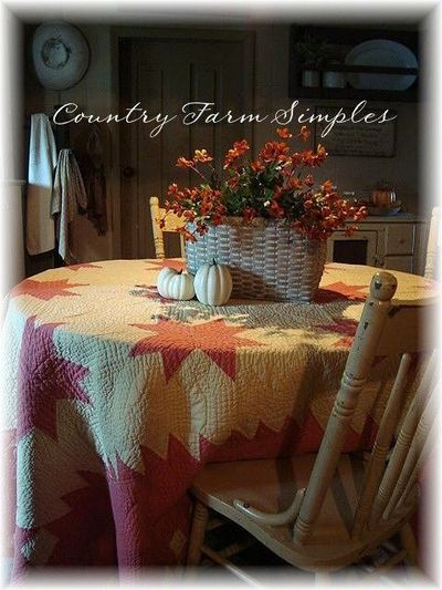 Fall quilt on the table country farm simples for Country farm simples