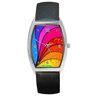 Gay Swirl Rainbow (LGBT) Mens or Womens Barrel Watch with Leather Band [Watch] $32.00