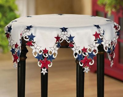Americana Stars Patriotic Round Table Topper by Decorshop $11.95