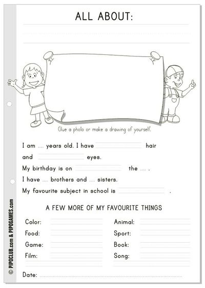"Worksheet ""All about me"" #English #kids #ESL #Education #preschool # ..."