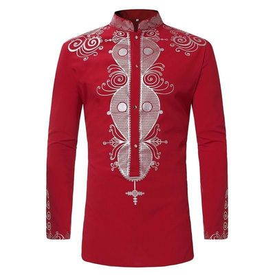 Price: $33.25 | Product: New Tribal African Print Dashiki Dress Shirt For Men Long Sleeve Shirts | Visit our online store https://ladiesgents.ca