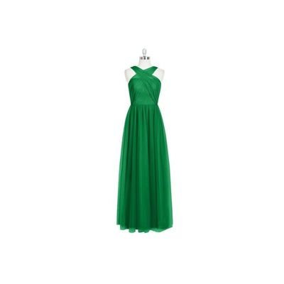 Emerald Azazie Mallory - Tulle And Lace Floor Length Back Zip V Neck Dress - Charming Bridesmaids Store