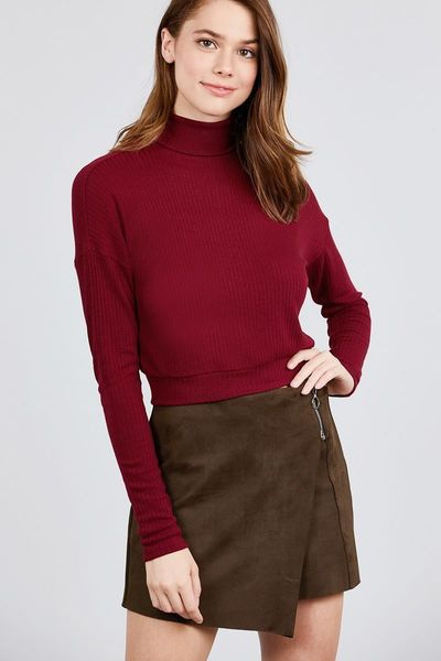Long Dolman Sleeve Turtle Neck Rib Knit Top $13.01
