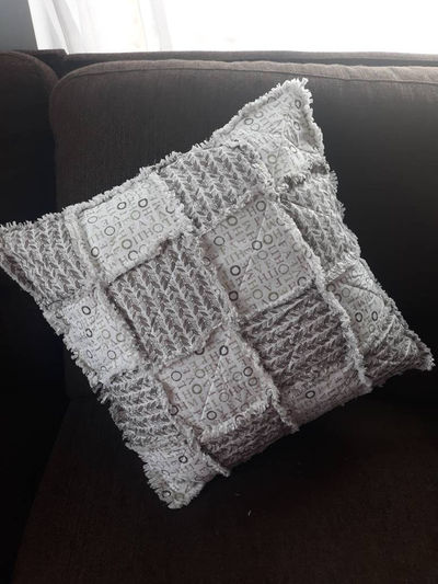 Rag Quilt Couch Pillow- Country and Farmhouse Accent Pillow- Elegant Rag Quilt Couch Decor- Wedding Gift Square Sofa Decor-Housewarming Gift $45.00