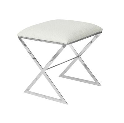 X Bench in Nickel Base with Creamy Ostrich Upholstery $942.00