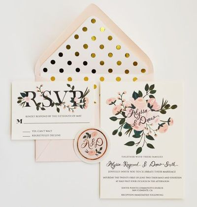 Hand Painted Wedding Invitation Suite // Gold and Blush Floral