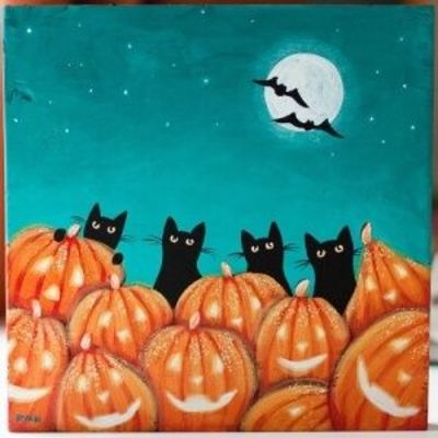 Cats and Jack O'Lanterns (by Kilkennycat) by della