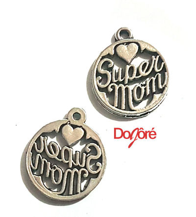 CLEARANCE Pack of 20 Silver Coloured Mom Charms. 8mm Super Mum Pendants £6.99