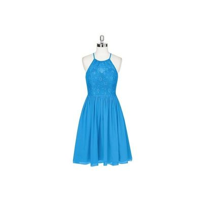 Ocean blue Azazie Lyric - Halter Chiffon And Lace Knee Length Illusion - Simple Bridesmaid Dresses & Easy Wedding Dresses