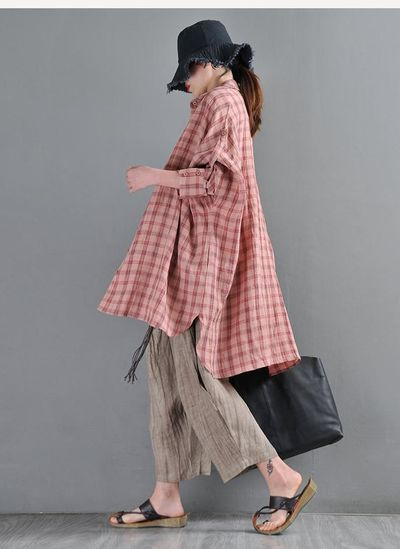 Leather pink plaid loose shirt, yarn-dyed linen bat long sleeves shirt'�' plus size clothes