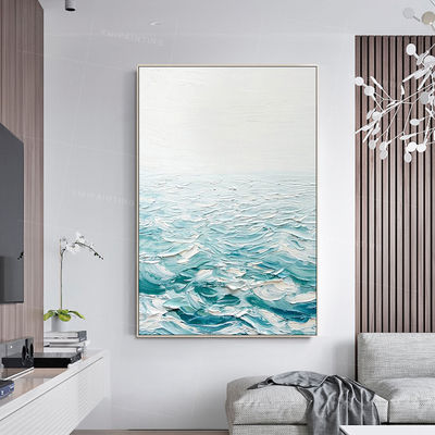 Framed wall art Abstract acrylic painting on canvas art texture painting original art Large wall art palatte knife blue painting sea wave $123.75